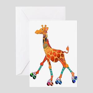 Roller Skating Giraffe Greeting Cards