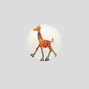 Roller Skating Giraffe Mini Button