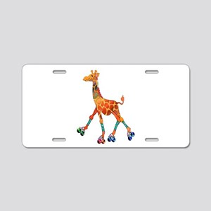 Roller Skating Giraffe Aluminum License Plate