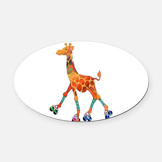 Roller Skating Giraffe Oval Car Magnet