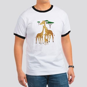 Giraffe Family on the Plains with Acacia T T-Shirt