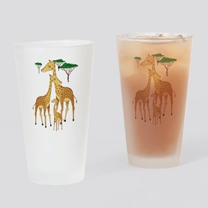 Giraffe Family on the Plains with A Drinking Glass