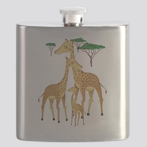 Giraffe Family on the Plains with Acacia Tre Flask