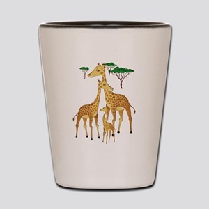 Giraffe Family on the Plains with Acaci Shot Glass