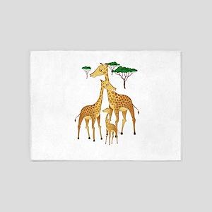 Giraffe Family on the Plains with A 5'x7'Area Rug