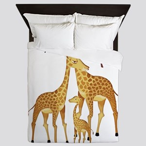 Giraffe Family on the Plains with Acac Queen Duvet