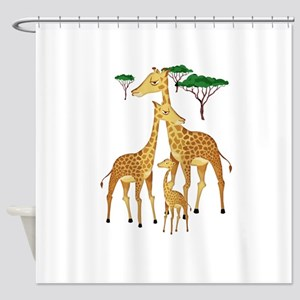 Giraffe Family on the Plains with A Shower Curtain