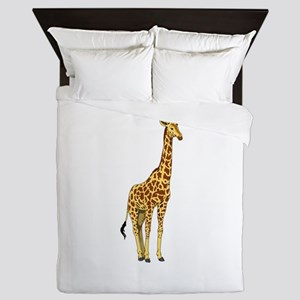 Very Tall Giraffe Illustration Queen Duvet