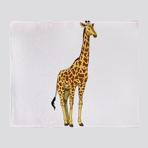 Very Tall Giraffe Illustration Throw Blanket