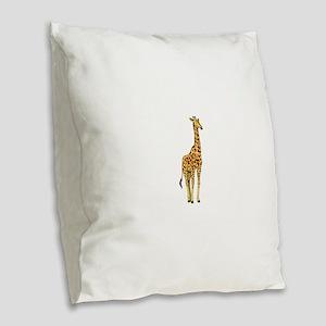 Very Tall Giraffe Illustration Burlap Throw Pillow