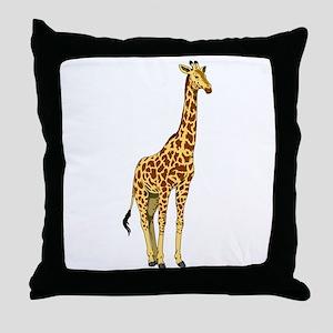 Very Tall Giraffe Illustration Throw Pillow