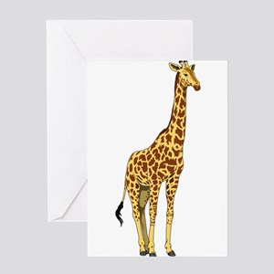 Very Tall Giraffe Illustration Greeting Cards