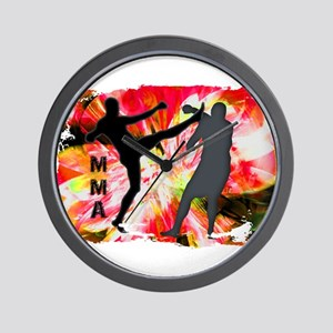 MMA Silhouettes in Red Explosion Wall Clock