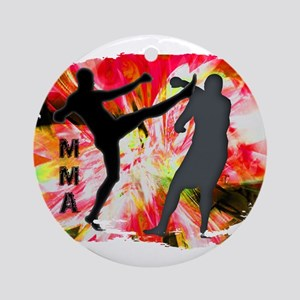 MMA Silhouettes in Red Explosion Ornament (Round)