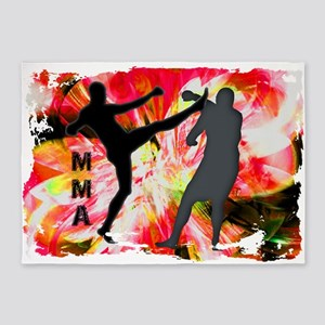 MMA Silhouettes in Red Explosion 5'x7'Area Rug
