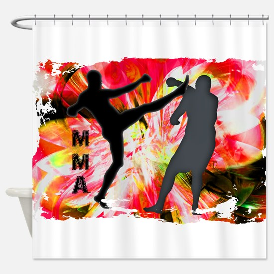 MMA Silhouettes in Red Explosion Shower Curtain