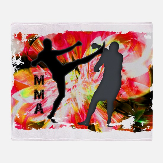 MMA Silhouettes in Red Explosion Throw Blanket