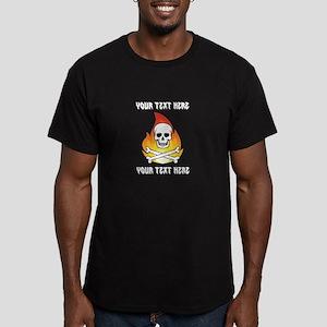 CUSTOM Skull with crossbones on fire T-Shirt