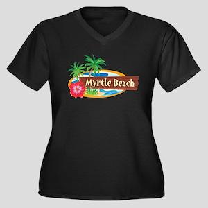 Classic Myrtle Beach Women's Plus Size V-Neck Dark