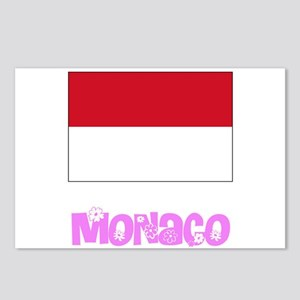 Monaco Flag Pink Flower D Postcards (Package of 8)