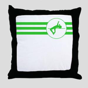 High Jump Stripes (Green) Throw Pillow