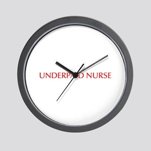 Underpaid nurse-Opt red 550 Wall Clock