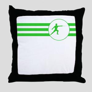 Fencer Stripes (Green) Throw Pillow