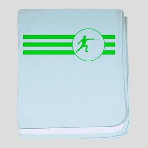 Fencer Stripes (Green) baby blanket