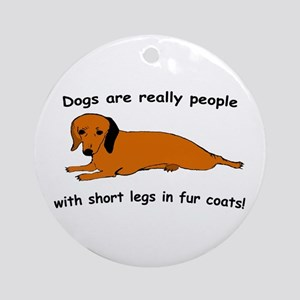 Dachshund Dogs Fur Coat Ornament (Round)
