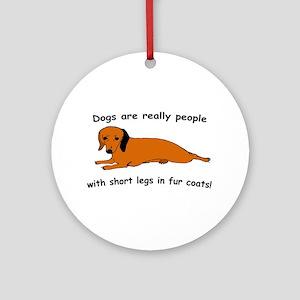 Dachshund Dogs Fur Coat Ornament (Round)