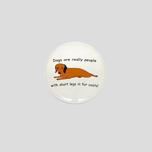 Dachshund Dogs Fur Coat Mini Button