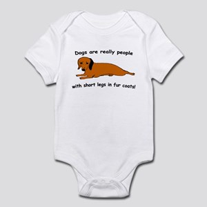 Dachshund Dogs Fur Coat Infant Bodysuit