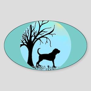 Tree & Bloodhound Dog Oval Sticker