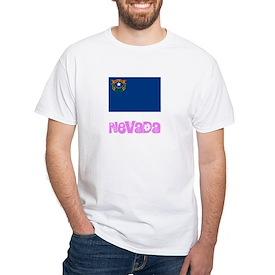 Nevada Flag Pink Flower Design T-Shirt