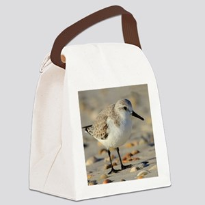 Sand Piper and Seashells Canvas Lunch Bag