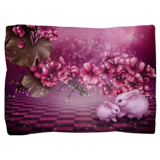 Pink Easter Rabbits Pillow Sham