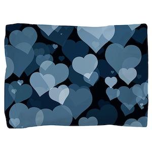 Navy Valentine Hearts Pillow Sham