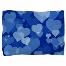 Blue Valentine Hearts Pillow Sham