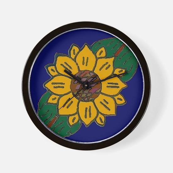 Mexican Tile Sunflower Blue Wall Clock
