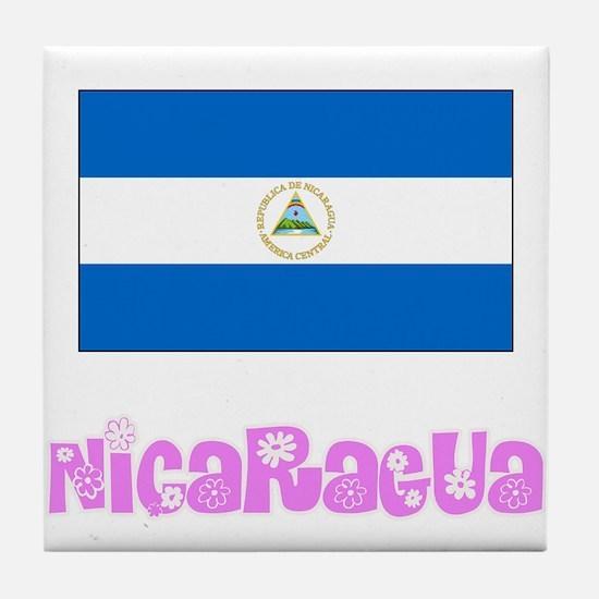 Nicaragua Flag Pink Flower Design Tile Coaster