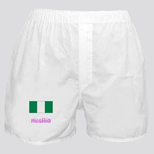 Nigeria Flag Pink Flower Design Boxer Shorts