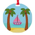 Pink Sailboat on a Beach Ornament