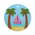 Pink Sailboat on a Beach Ornament (Round)