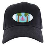 Pink Sailboat on a Beach Baseball Hat