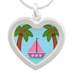 Pink Sailboat on a Beach Necklaces