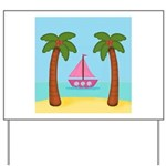 Pink Sailboat on a Beach Yard Sign