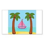 Pink Sailboat on a Beach Sticker