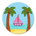 Pink Sailboat on a Beach Round Car Magnet