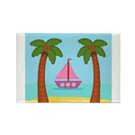 Pink Sailboat on a Beach Magnets