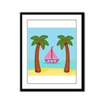 Pink Sailboat on a Beach Framed Panel Print